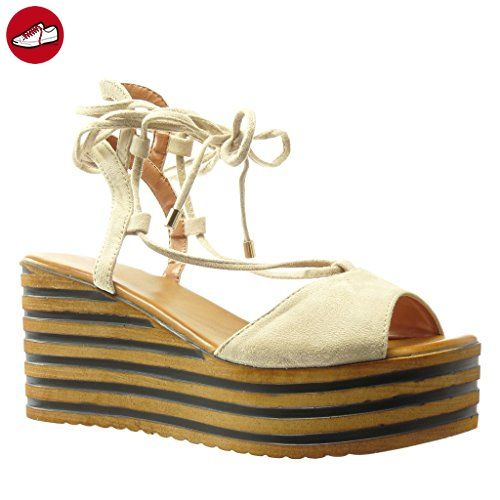 Angkorly Damen Schuhe Sandalen Mule - Plateauschuhe - Linien - Spitze - String Tanga Keilabsatz High Heel 8 cm - Beige YS430 T 40 2Y6fMrRs