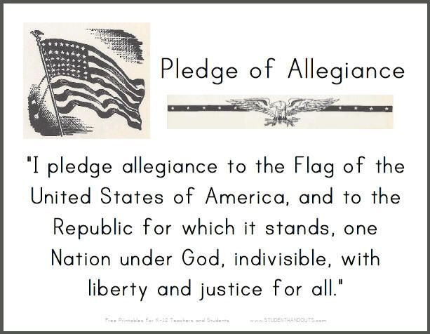 Image Result For Pledge Of Allegiance Words Pledge Of Allegiance