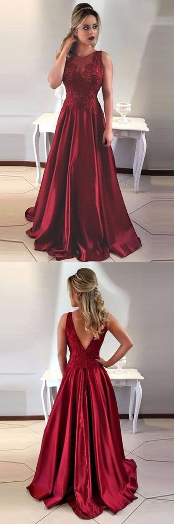 Red satin lace v back gown prom dresses pinterest long