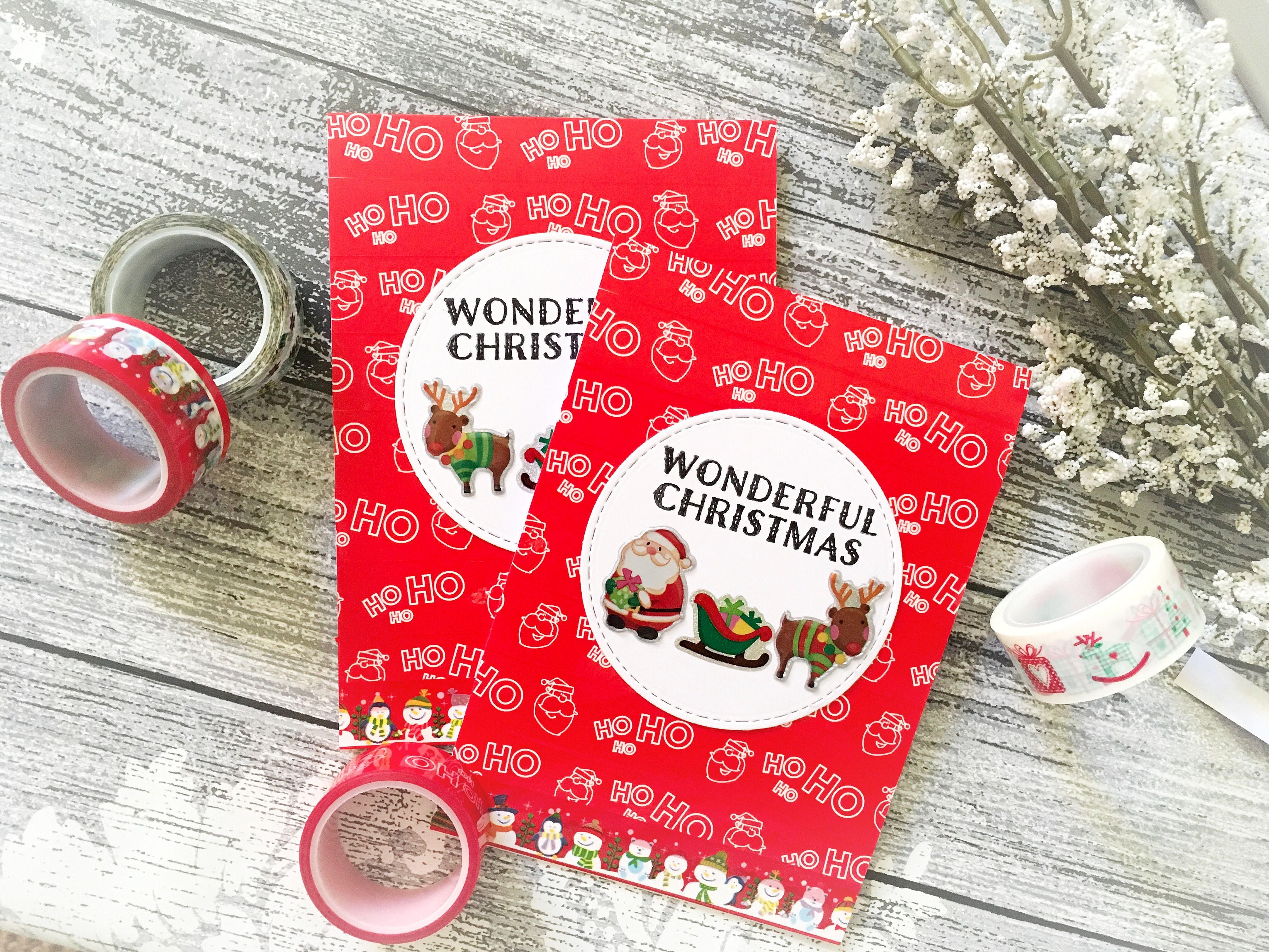 Quick and simple Christmas cards using colourful tapes