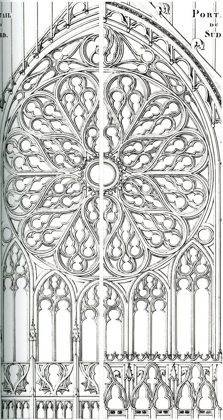 Frieze Tile Rose Window Drawings