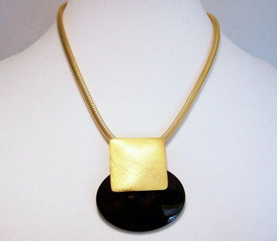 1980s Modernist Matte Gold Black Oval Pendant by GretelsTreasures