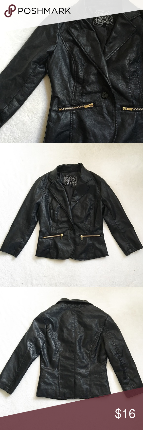 Black Vegan Leather Faux Leather Jacket Blazer 🌸 Black Vegan Leather Blazer Jacket by Last Kiss  🌸 Faux leather jacket in black with a collar   🌸 Suitable for work or outings   🌸 Buttons in the middle with a single medium sized button   🌸 Has two functional zipper pockets in the front. Zipper is exposed and the hardware is gold colored. Zipper pulls are lightly tarnished  🌸 There some wearing on the faux leather, this is not noticeable when worn as it is hidden by the button (shown in…