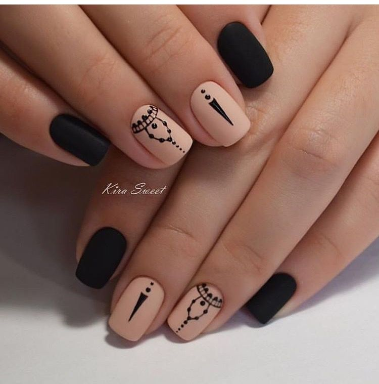 Pin by kathya on nails pinterest manicure makeup and cross gorgeous combination of black and nude shades nail art prinsesfo Images