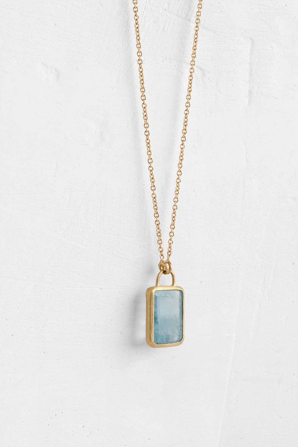 Delicate Opal and Brass Rectangle Necklace Pendant