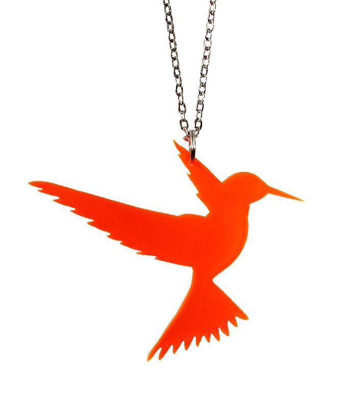 Chuparrosa humming bird necklace orange