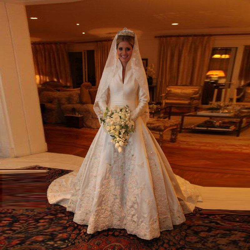Find More Wedding Dresses Information About Amazing Long Sleeves Dress With High Neckline Appliques Beading