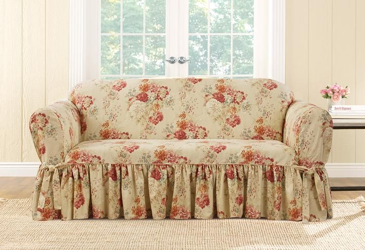 Enjoyable Ballad Bouquet By Waverly One Piece Loveseat Slipcover Pdpeps Interior Chair Design Pdpepsorg