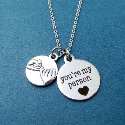 """Pinky promise you're my person Necklace + Color : silver + You're my person Pendant Material : Stainless steel, 19mmX20mm + Pinky promise Pnedant Material : silverplated, 14mmX17mm + Chain Material : silverplated, brass + Length : 17"""" + Treatment : tarnish resistant"""
