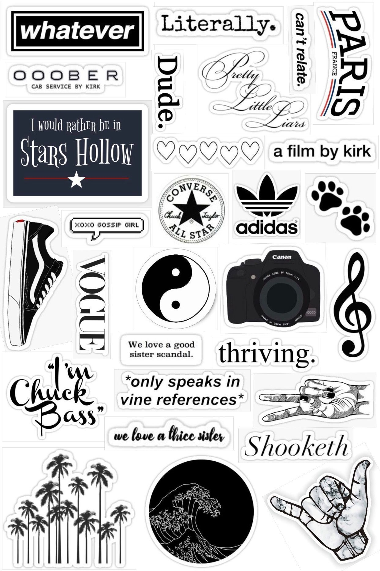 Black And White Stickers Vsco Di 2020 Buku Kliping Seni Buku Desain Stiker