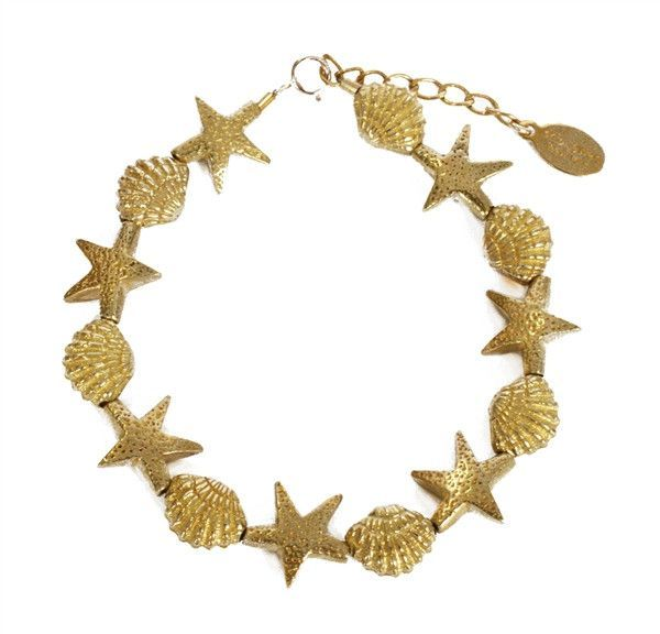 Starfish and Cockle Shell Bead Bracelet