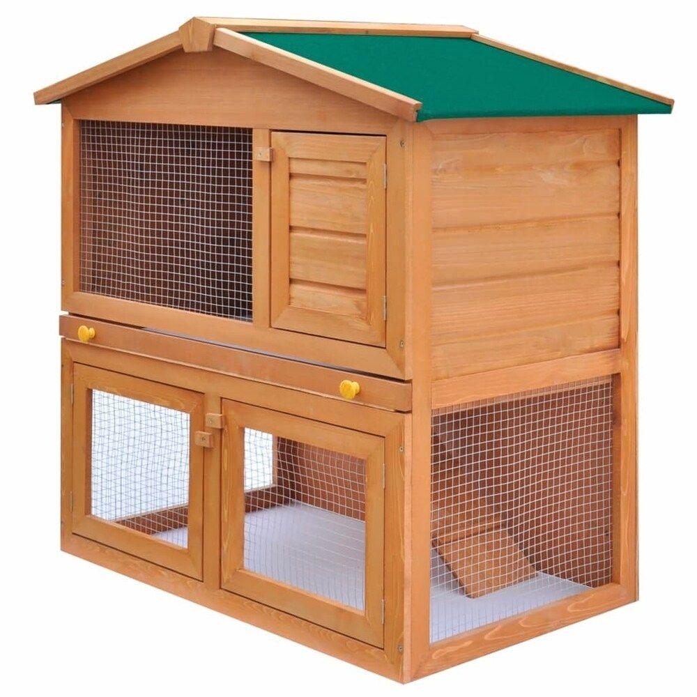 Animal House Pet Cage 3 Doors Wood, Green, LivEditor