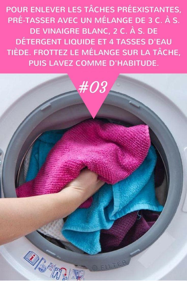Nettoyage Vinaigre Blanc Machine À Laver pour enlever les tâches préexistantes, pré-tasser avec un