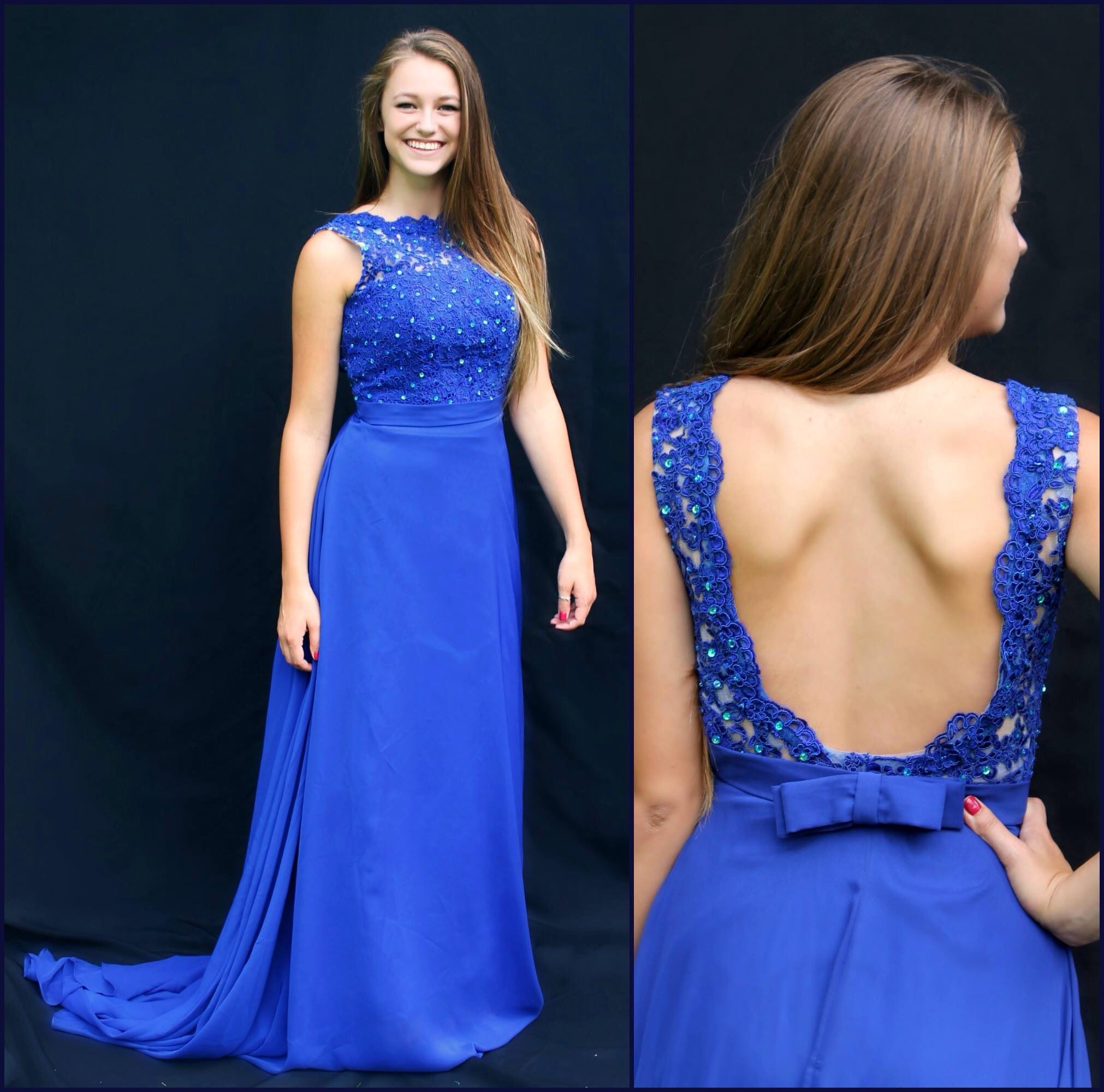 Long royal blue high neck formal dress. All dresses available at Bling It On Dress Rentals in Riverton, Utah! Find us on insta and fb! @blingitondressrentals