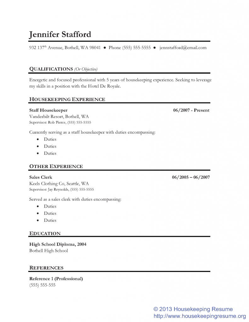 Resume Objective Job And Template Regarding Housekeeping Examples Resumes  Professional Writing Sample  Housekeeping Duties