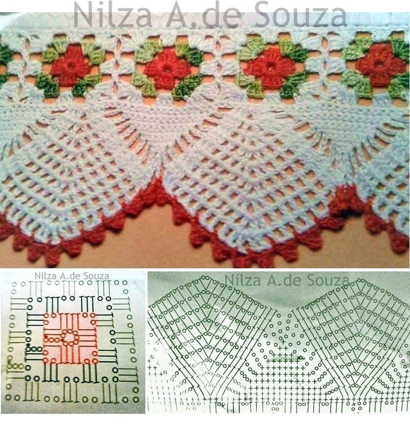Luty Artes Crochet Barrados Lindos Com Graficos Bicos De