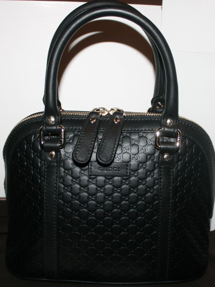 ac2be4a3c429 $995 NWT GUCCI MICRO GUCCISSIMA GG DOME BLACK LEATHER HANDBAG W/ SHOULDER  STRAP
