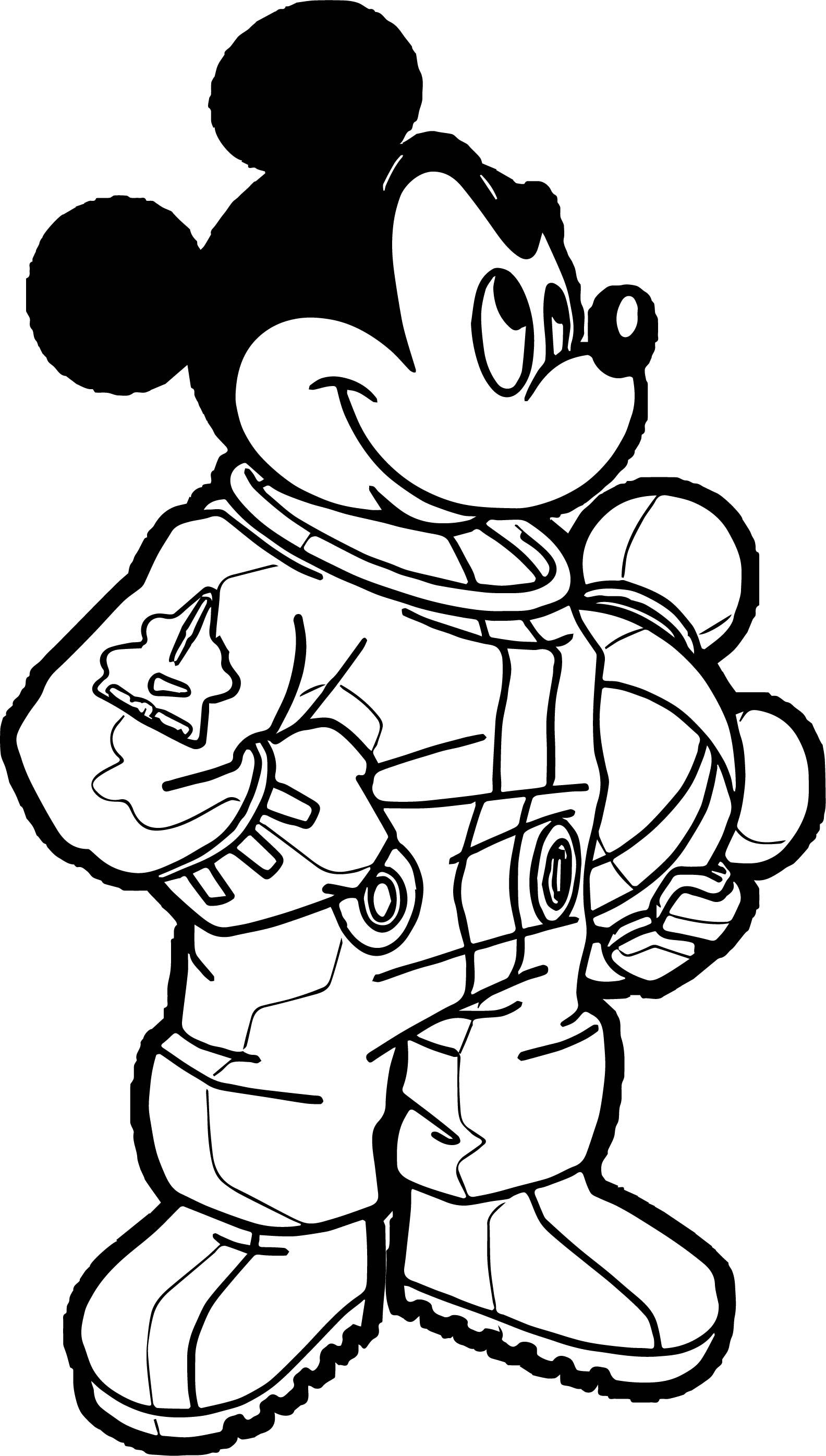 Awesome Astronaut Mickey Mouse Coloring Page