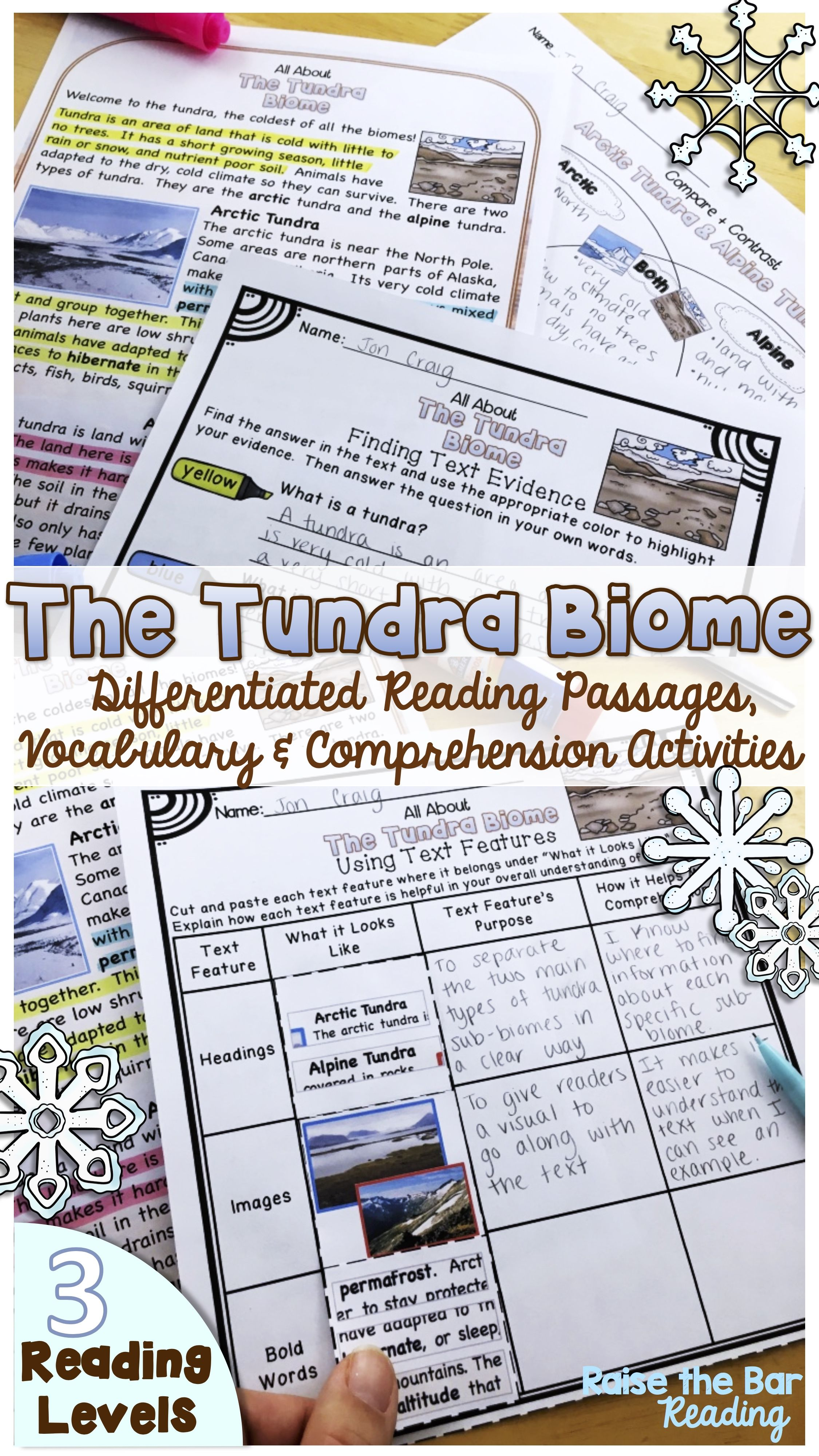 Make Studying Biomes Engaging For Your Students With These Differentiated Tundra Reading Passages Vocabulary Reading Passages Biomes Middle School Science Lab [ 4000 x 2250 Pixel ]