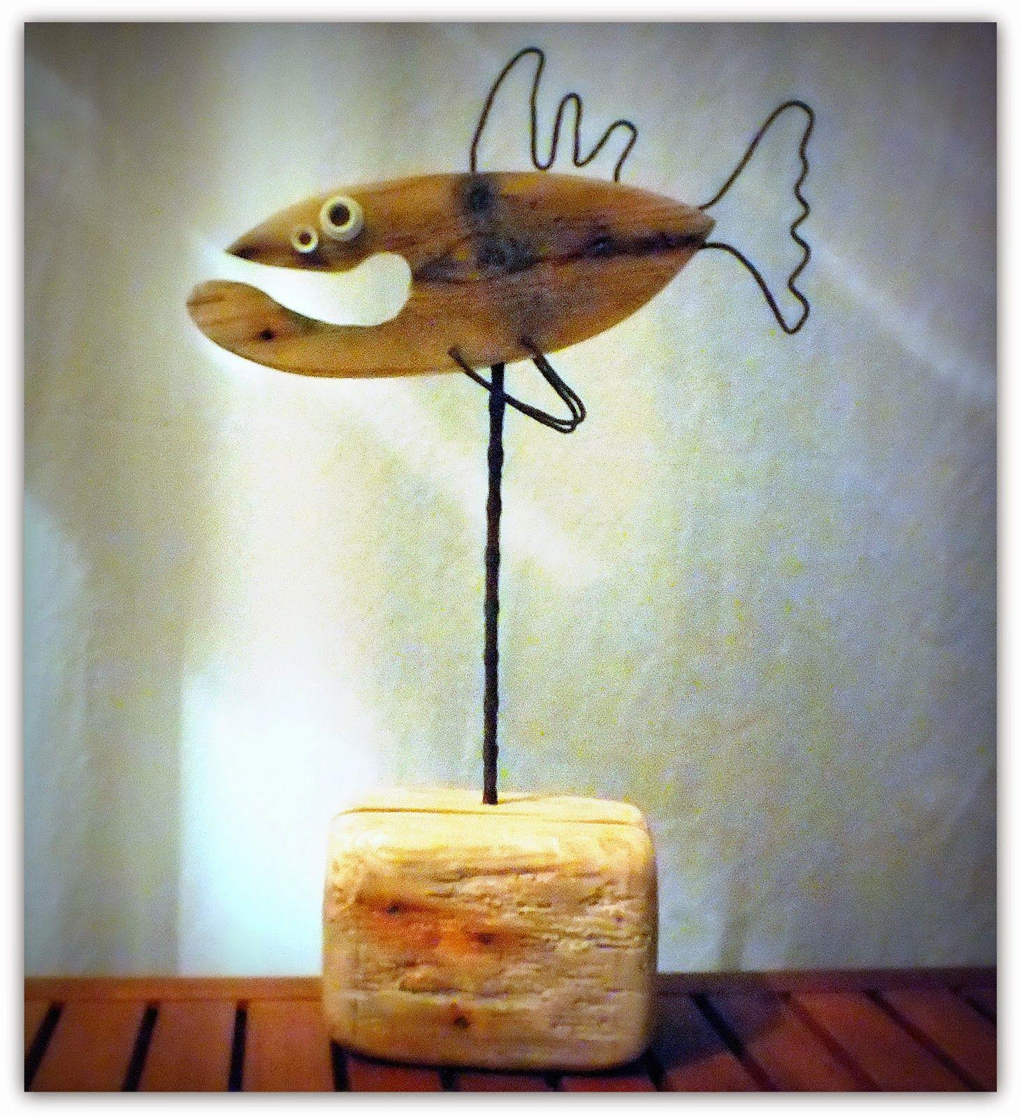 décoration bois flotté, poisson bois flotté   Galhos, Gravetos ...