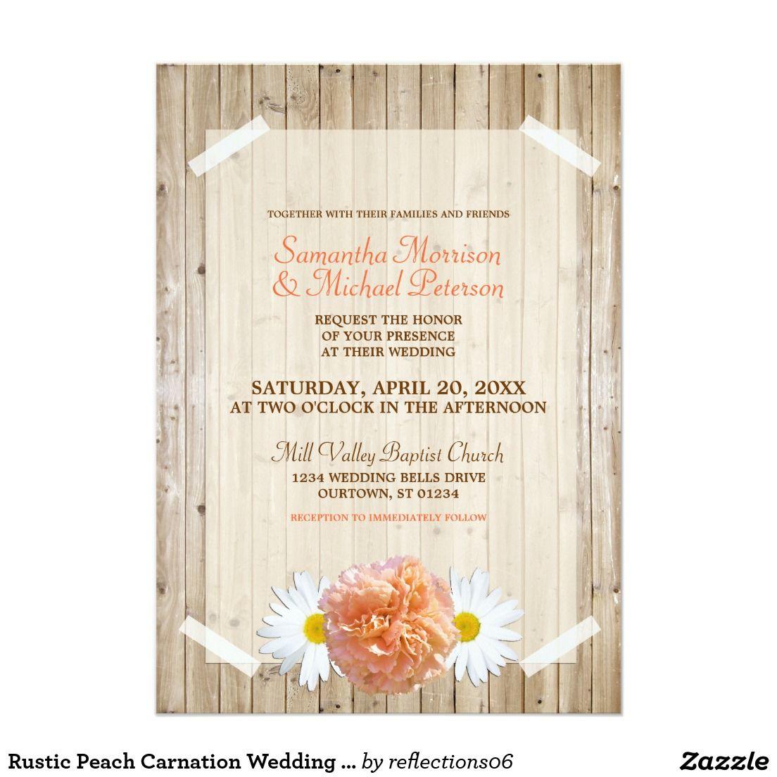 Rustic Peach Carnation Wedding Invitation | Mason Jar Wedding ...