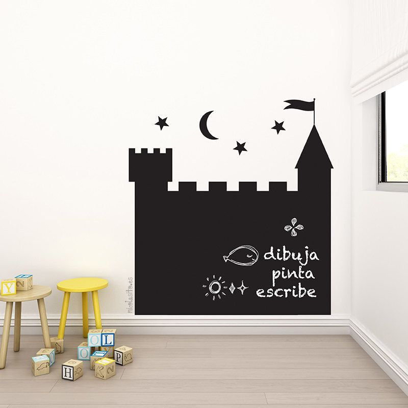 Vinilo decorativo pizarra casita o castillo grandes for Vinilos decorativos pared ninos