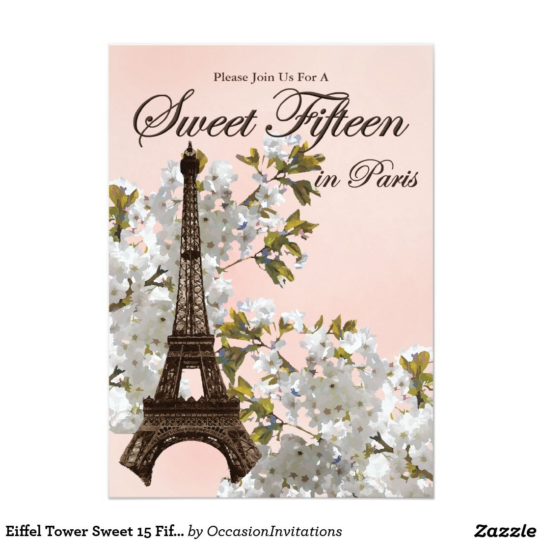 Eiffel Tower Sweet 15 Fifteen Invitations | GIRLS\' BIRTHDAY PARTY ...
