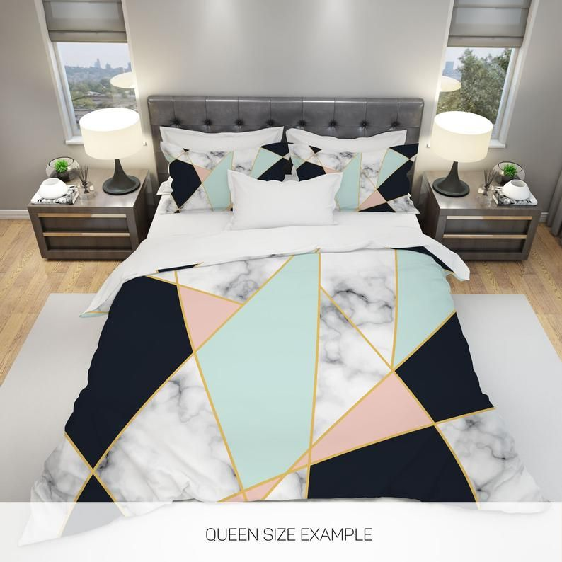 Marble Bedding Geometric Bedding Triangle Bedding Modern Etsy In 2020 Geometric Bedding Marble Bedding Comforter Sets