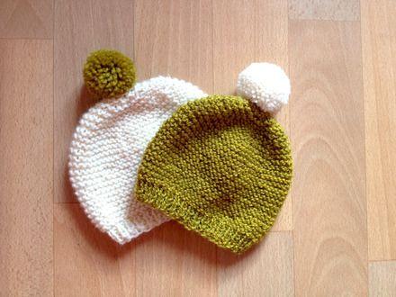 Bonnet bébé au tricot   Knitted baby hat   www.les-petits-noeuds.fr ... b27ef6e4e40