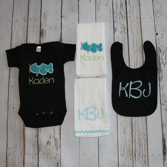 Baby Boy Personalized Airplane Set - Newborn, Onesie, Bib, Burp Cloth, - Baby Shower Gift Set, Infant Monogrammed, Embroidered, Applique