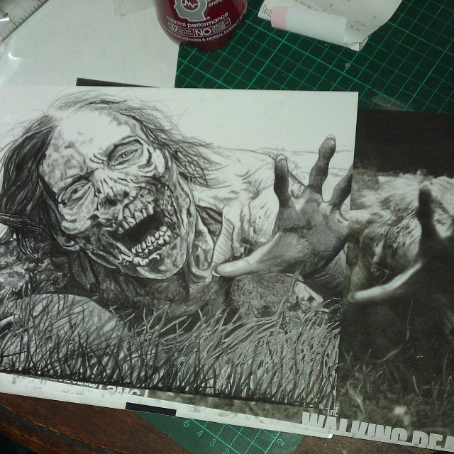 A drawing in progress from awhile back.... Need to draw more horror stuff :D