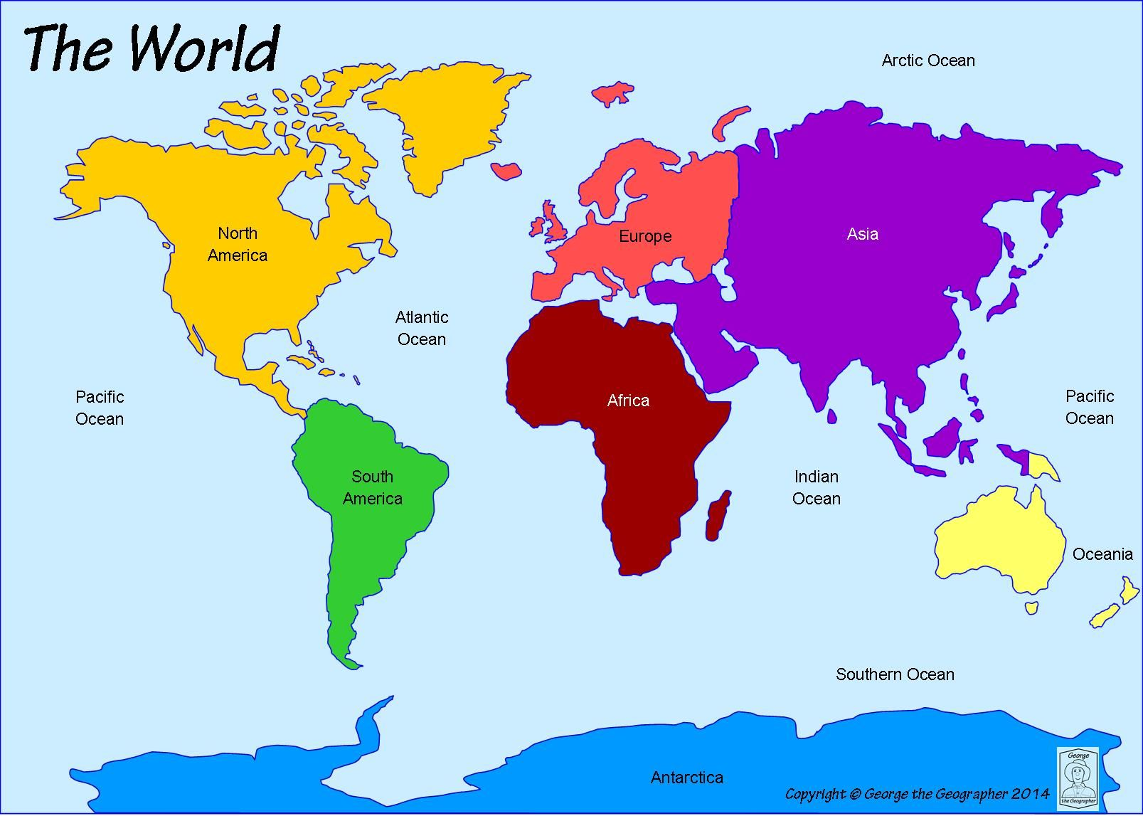 Continents And Oceans World Map Continents Continents Oceans
