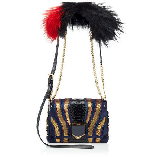 6ec9c6ed71 JIMMY CHOO Lockett Petite Navy Mix Suede With Pailettes, Ostrich Leg And  Fur Shoulder Bag. #jimmychoo #bags #shoulder bags #patent #fur #suede #