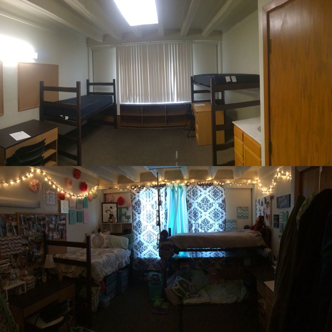 Dorm room furniture layout - Before And After Of My Dorm At Gardner Hall Abilene Christian University Pottery Barn