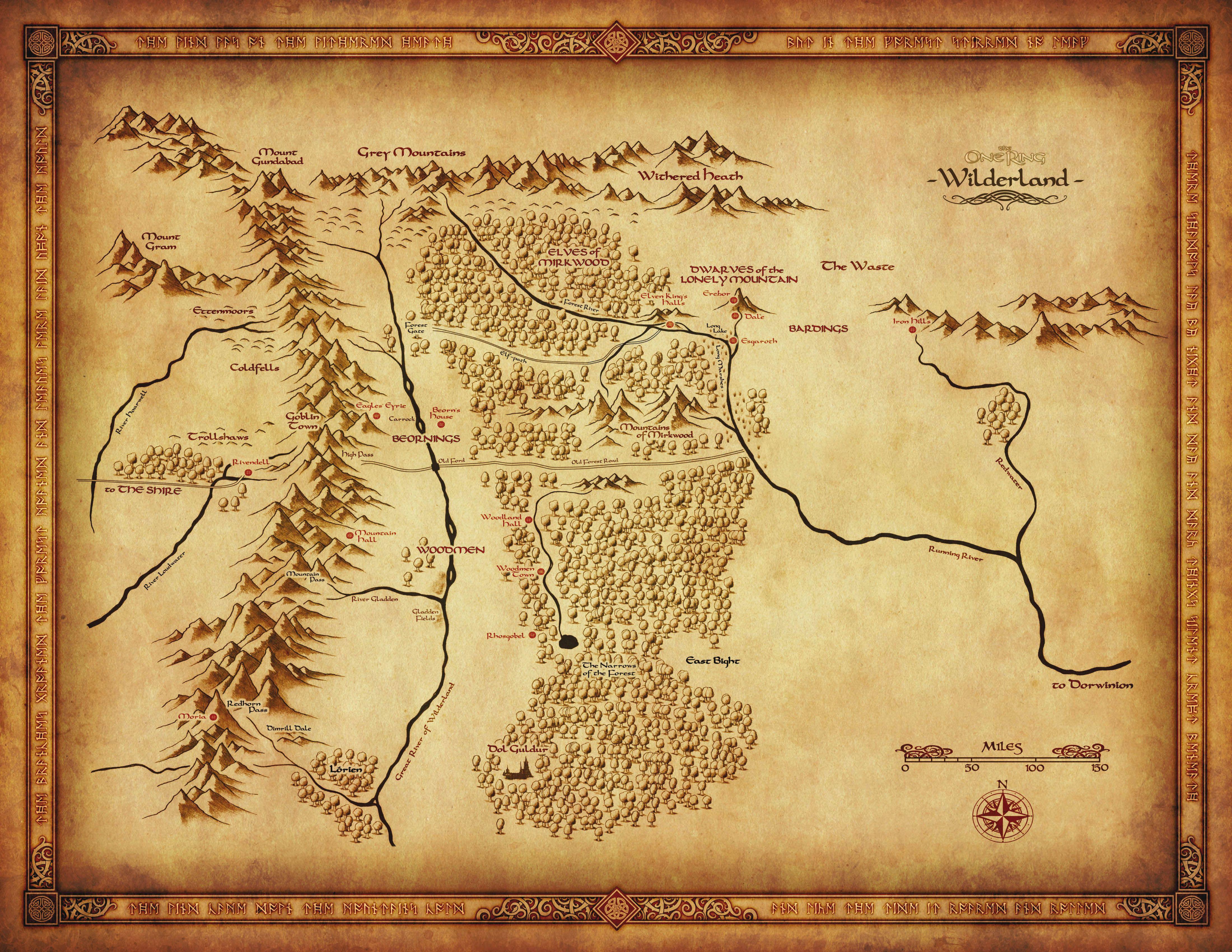 Carte Du Rhovanion Troisieme Age Selon Jrr Tolkien Carte De La Terre Du Milieu Carte Terre Tolkien