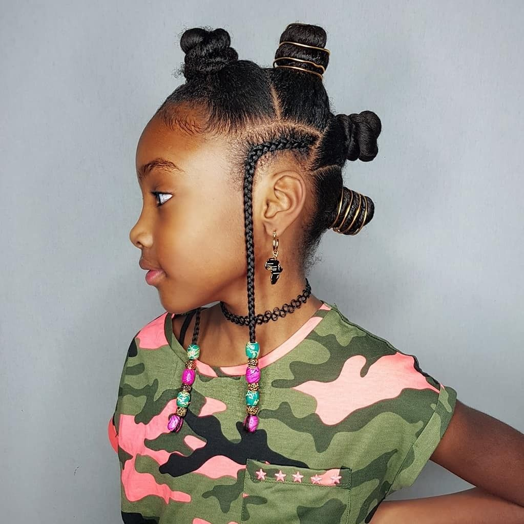Bantuknots mohawk hairstyles for kinky haired girl kids styles