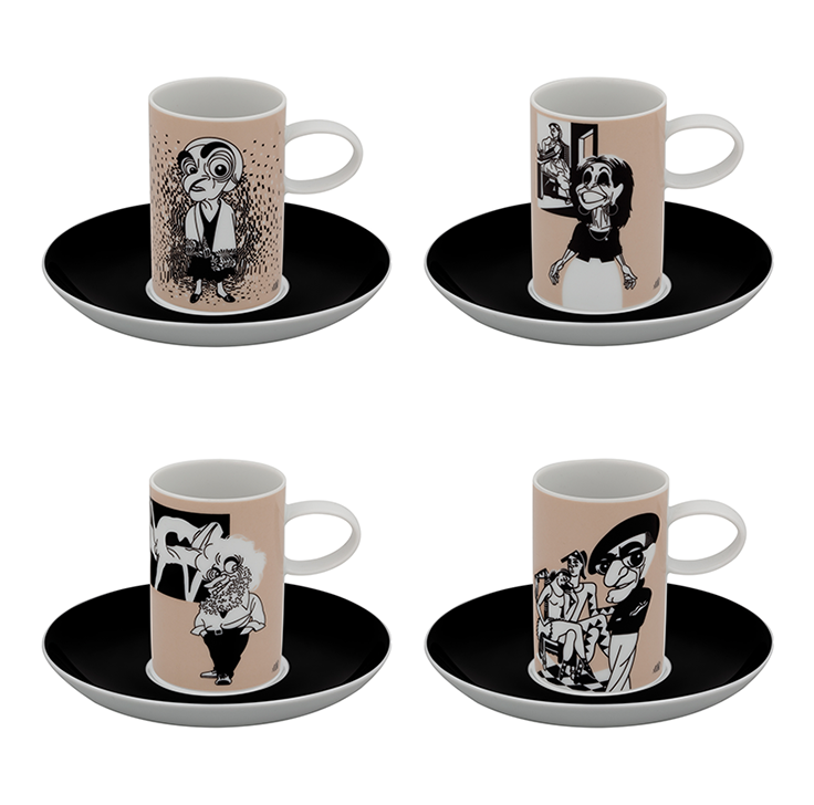 A VIAGEM (the Journey) by António Antunes   Set 4 Coffee Cups & Saucers Painters