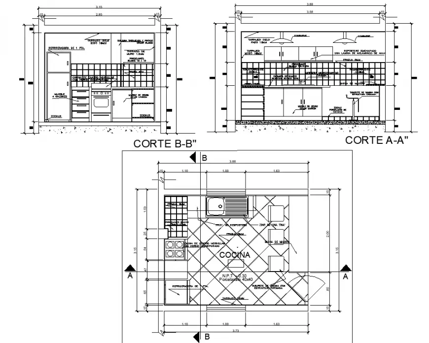 Kitchen Plan And Detail Drawing In Dwg Autocad File Kitchen Plans Detailed Drawings Autocad