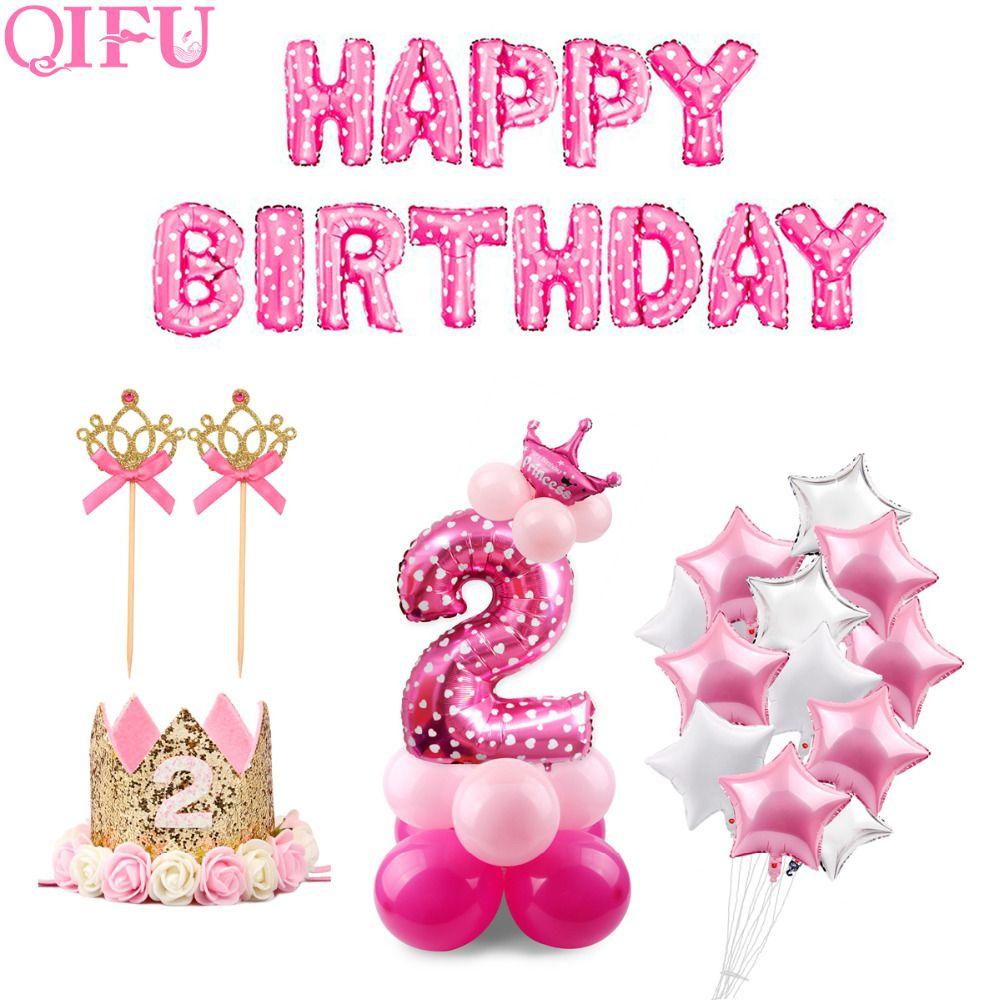 Acquistare Qifu 10 Pz 12 Pollici 2 Anno Compleanno Rosa Blu Lattice Palloncini Ragazzo Ragazza Kids Party Decorations Girl 2nd Birthday Birthday Party Balloon