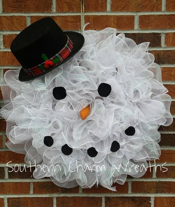 Deco Mesh Snowman Face Door Hanger Wreath Snowman Faces Deco