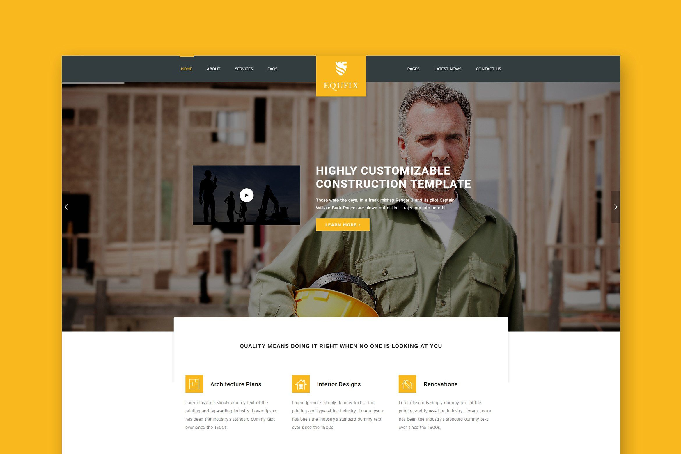 Equfix Construction Wordpres Theme Composer Visual Created Contents Theme Business Card Logo Web Themes