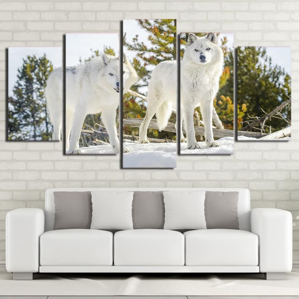 HD Printed 5 Piece Canvas Art White Wolf Painting Modular Framed ...