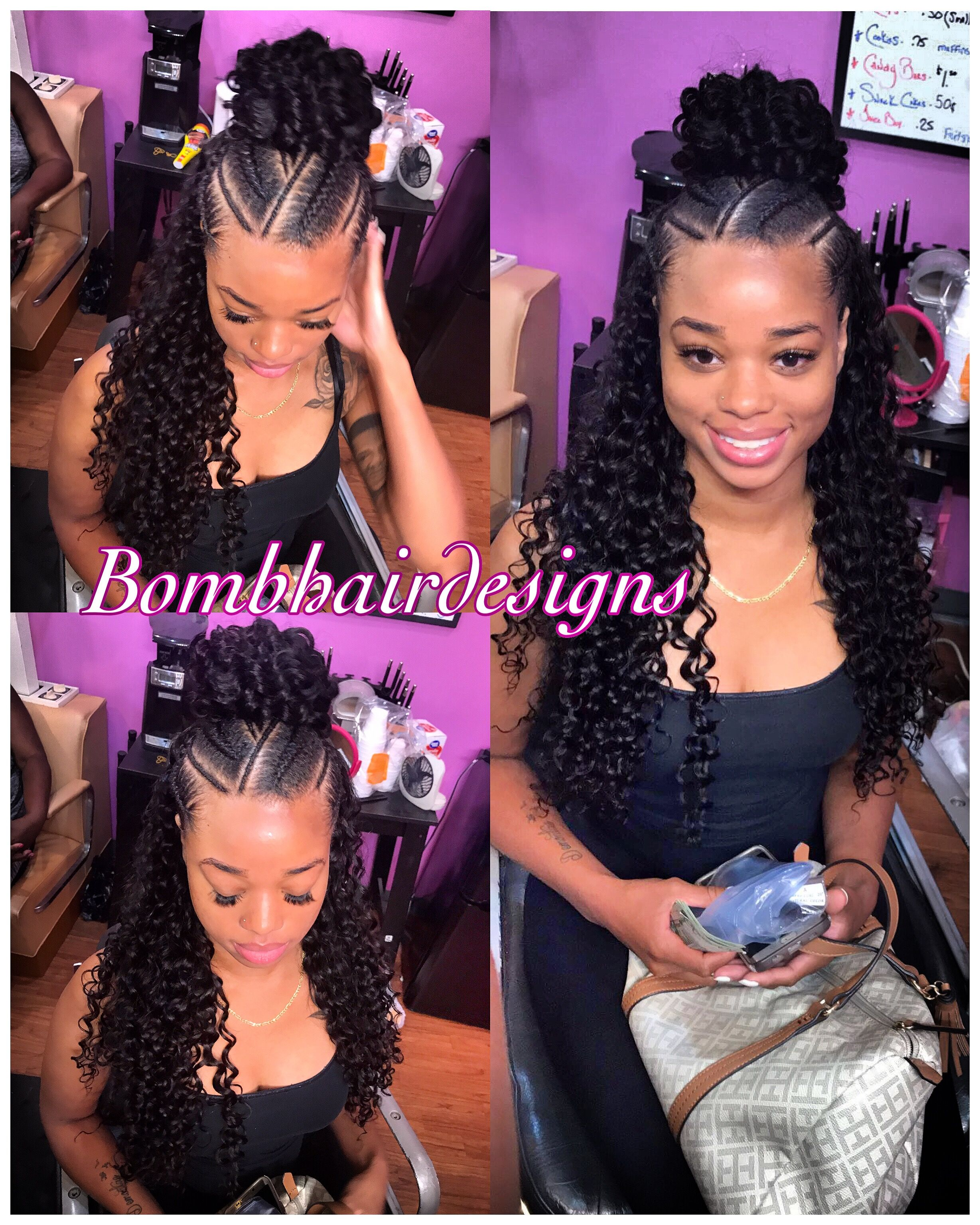 Half Up Half Down Bun And Feeder Braids Curly Hair Sewin Half Braided Hairstyles Curly Hair Styles Half Up Half Down Hair