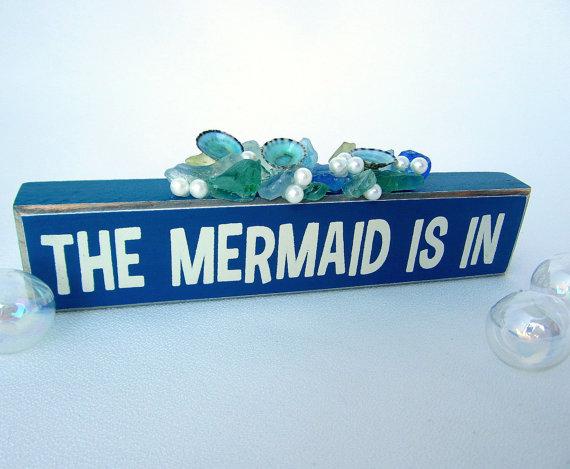 Beach Decor Mermaid Sign, Nautical Decor Mermaid Gift, Sea Glass Art Mermaid Decor, Sea Glass Decor, Beach Glass Decor The Mermaid Is In #mermaidsign