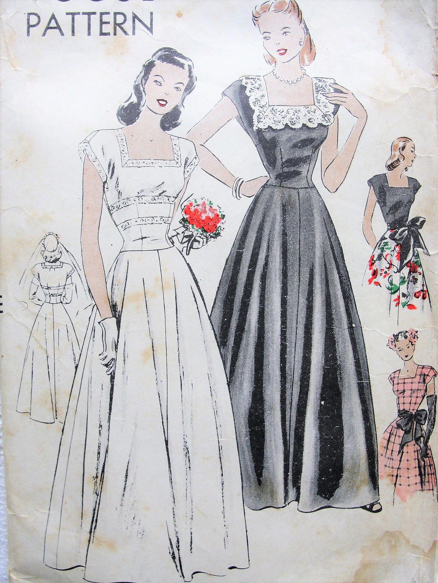 square neckline wedding dress pattern