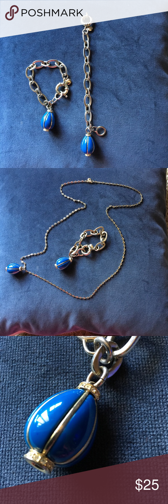 J crew royal blue teardrop pendant chain bracelet my posh picks