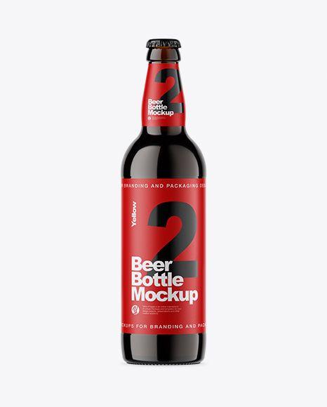 Download Download Amber Glass Bottle With Dark Beer Mockup Object ... Free Mockups