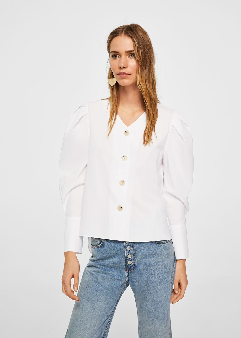 Camisa popelín manga abullonada - Camisas de Mujer  fb0f78f2a930
