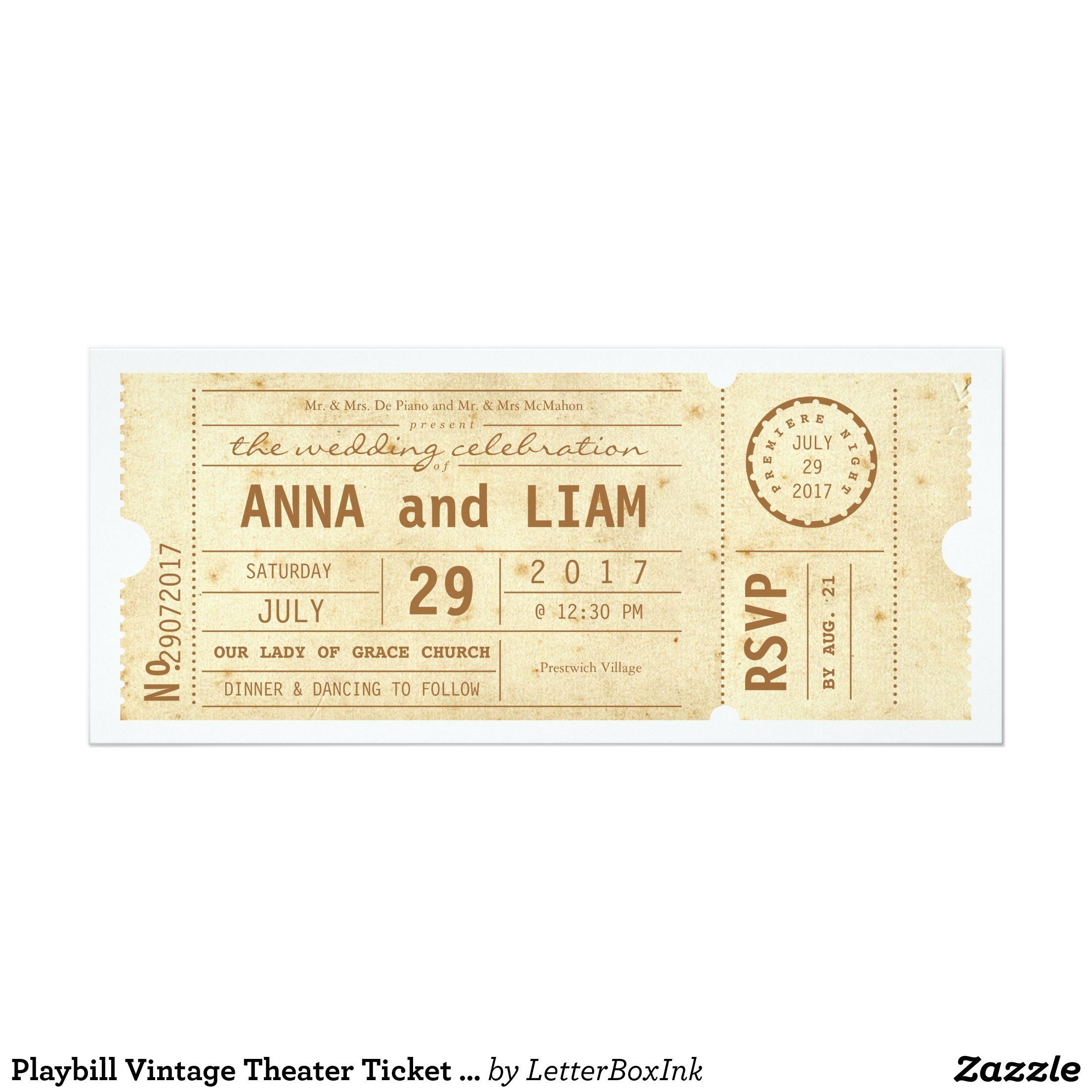 playbill vintage theatre ticket wedding invitation in 2018 wedding