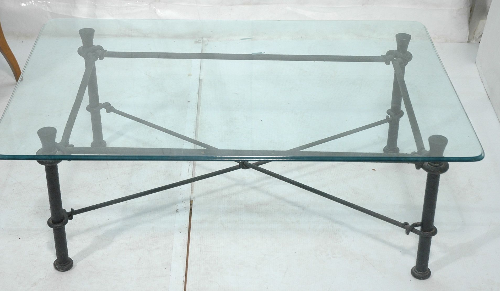 Black Wrought Iron And Gl Coffee Table
